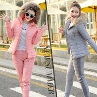 2018 Winter Spring Jacket Suit Autumn Warm women coat Plus Size 2XL Fur Collar Slim Parka Coat + Pants 2 Piece Set Woman 002