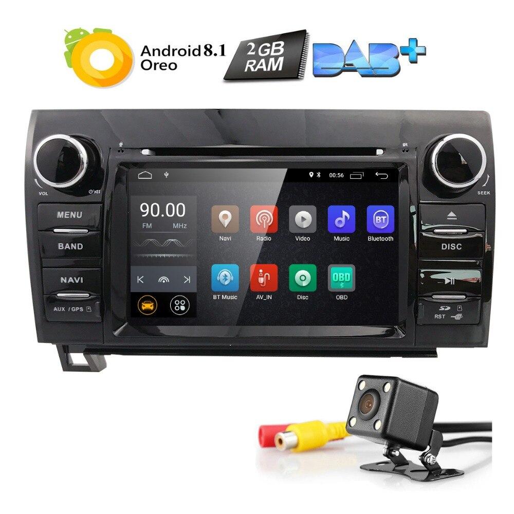 Android 8.1 lecteur DVD de voiture pour Toyota Tundra 2007-2013/séquoia stéréo GPS DAB + SWC RDS DVR DVBT BT 4 GWIFI caméra carte QuadCore 2 grammes
