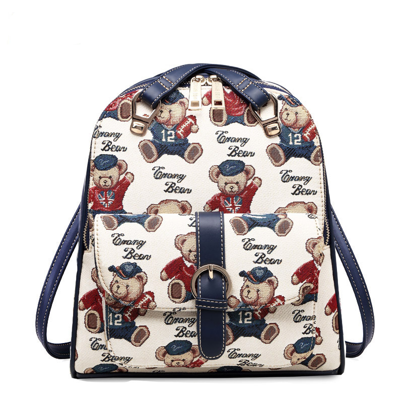 Korean version of the shoulder bag cute Meng cartoon sweet personality canvas backpack wild shoulder bag oxford bag korean version of the female students shoulder bag large capacity backpack canvas backpacks