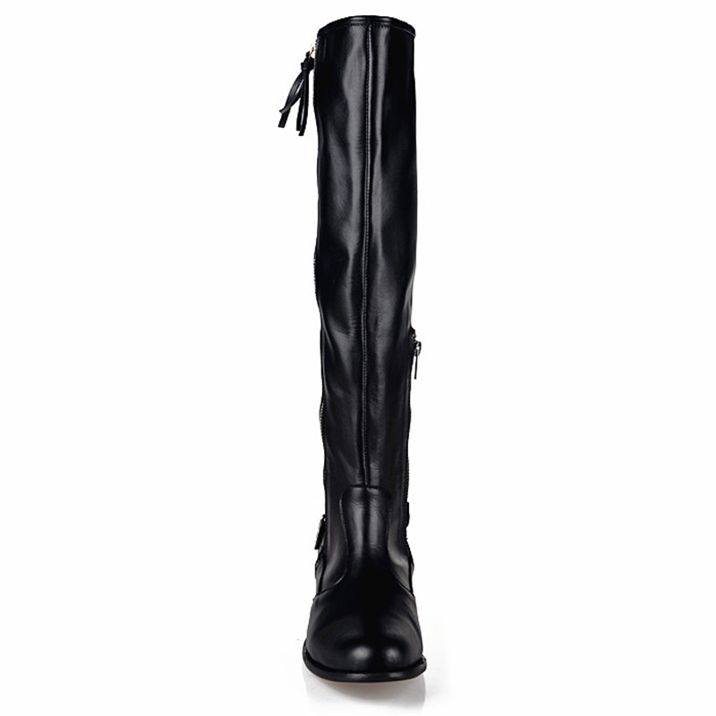 Prova De Réel Cuir Qualité Noir Chevalier plush black Chaud Mode Daim Long Garder Plat Vache Femme Perfetto Black In Hiver Haute Bottes En Au 2018 7z7qxr