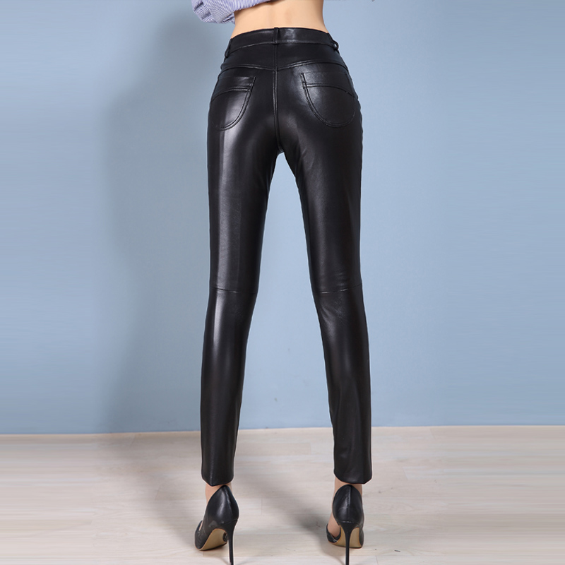 Calças finas de couro genuíno das mulheres primavera outono close-fitting calças de couro de pele de carneiro ol mostrar magro leggings calças de botas