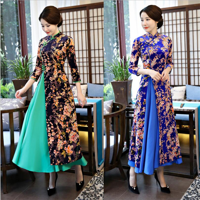 Long Ao dai dresses modern 2019 Womens Vintage floral vietnam clothing uniform beautiful high split dress chinese qipao