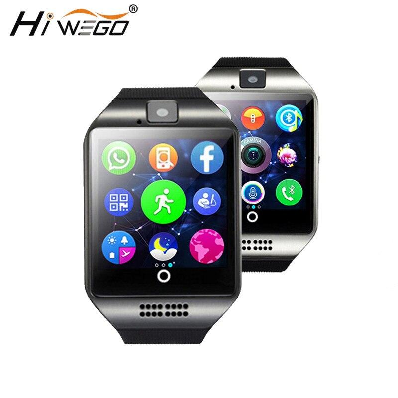 Montre intelligente horloge Q18 avec fente pour carte Sim Message poussoir connectivité Bluetooth téléphone Android mieux que DZ09 Smartwatch hommes montre