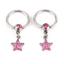 1 st Rvs Sluiting Bead Ring Met Dangle Star Lip Neus Septum Ringen Oor Rings Piercing Nariz Sieraden Pirsing(China)