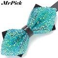 2016 Floral cristalino colorido del arco corbatas moda Casual de negocios Rhinestone hombres pajarita de la flor T0012