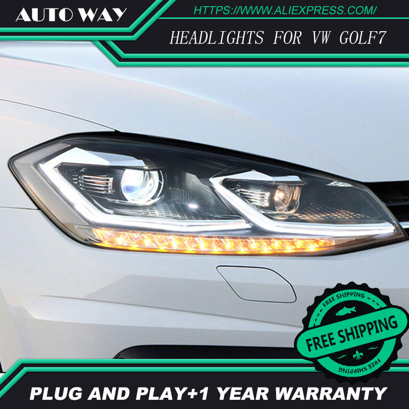 car styling Case For Volkswagen VW Golf7 MK7 2014 2015 Headlights Golf 7 Headlights LED light bar DRL Q5 bi xenon lens h7 xenon hireno headlamp for volkswagen golf7 golf 7 mk7 2014 headlight headlight assembly led drl angel lens double beam hid xenon 2pcs