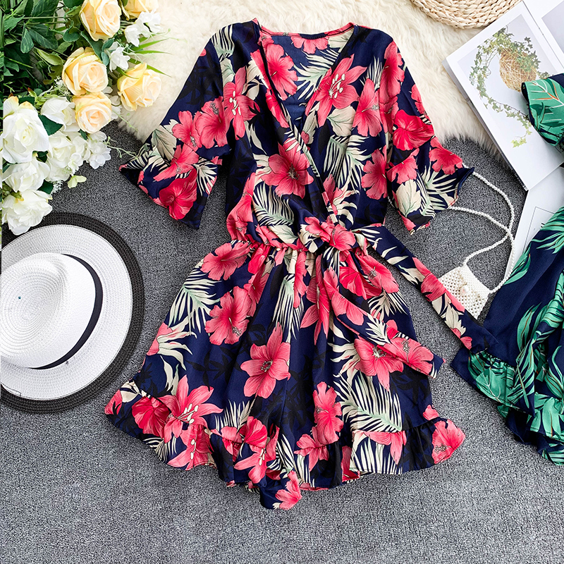 Women's V neck flare sleeve flower print Playsuits Lady's Vintage Summer Wide leg shorts beach vacation   Jumpsuits   TB1036