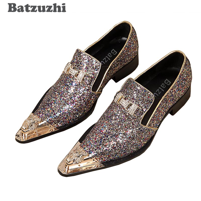 Batzuzhi 100% Brand New Men Shoes Handmade Pointed Gold Metal Toe Dress Shoes Men Shiny Wedding/Party Shoes Sapatos MasculinoBatzuzhi 100% Brand New Men Shoes Handmade Pointed Gold Metal Toe Dress Shoes Men Shiny Wedding/Party Shoes Sapatos Masculino