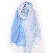 Spring Winter Cashmere Scarf Women Sky Blue Fashion Gradient with Fringe Scarfs Shawl Girl High Quality Free Shipping