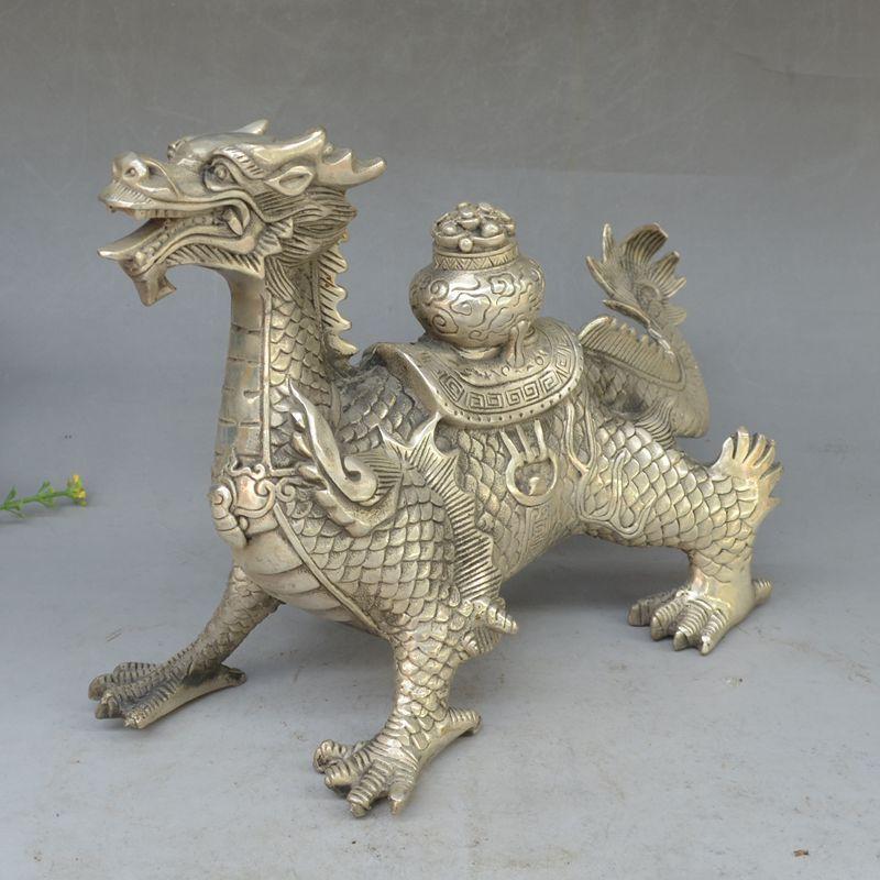 2017 New hot toys Huge Tibetan Silver luck Dragon Statue