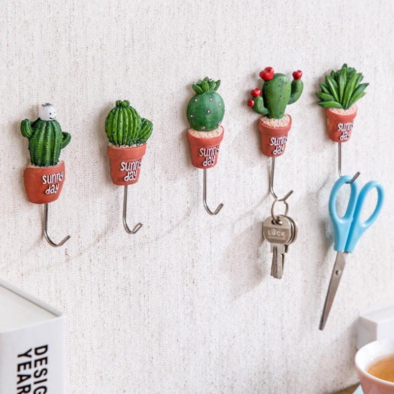 1pc Cactus Shape Resin Paste Hook Key Holder Wall Hanger Bathroom Accessories Kitchen Towel Hanger #11010