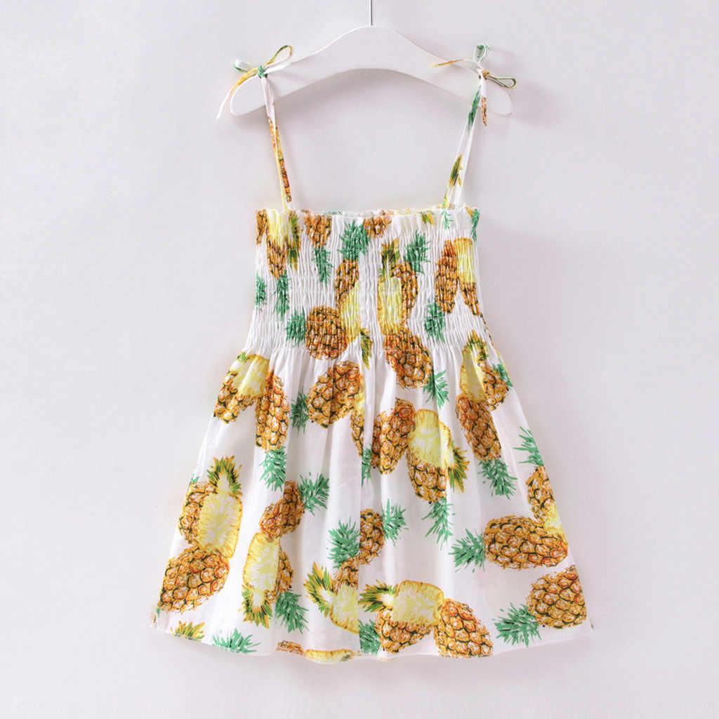 2019 Новое модное платье принцессы без рукавов с фруктовым принтом для маленьких девочек, повседневные Летние Вечерние платья на бретельках, Robe princesse enfant Fille