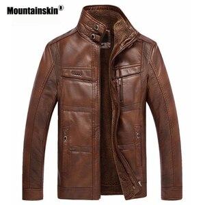 Image 3 - Mountainskin jaqueta couro sintético masculina, casacos de lã alta qualidade pu para uso externo, de negócios no inverno 5xl eda113