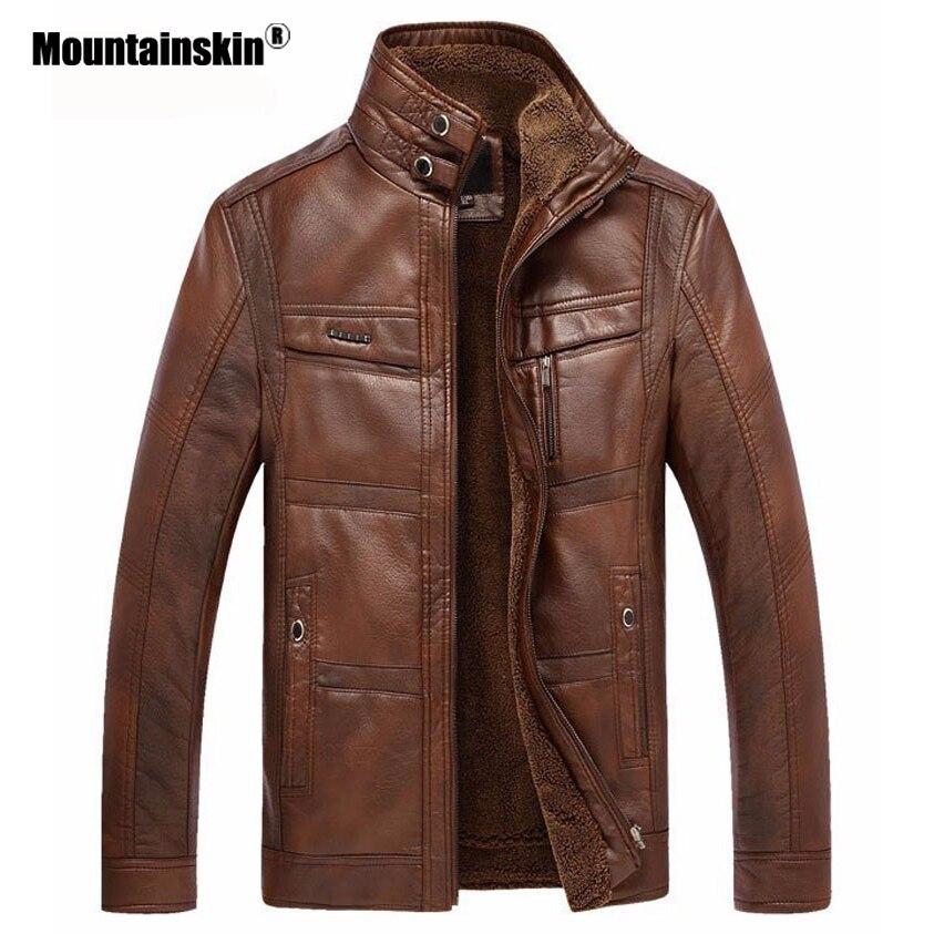 Veste en cuir de peau de montagne hommes manteaux 5XL marque haute qualité PU vêtements d'extérieur hommes d'affaires hiver fausse fourrure mâle veste polaire EDA113 - 3