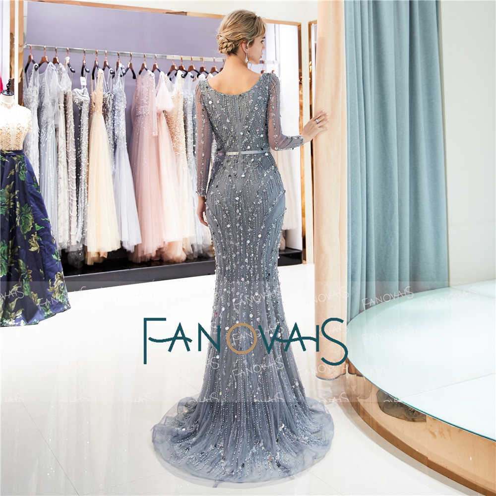 9283aee90 ... Grey Mermaid Evening Dresses Long Sleeves V-Neck Delicate Beaded Prom  Dress 2019 Tiered Evening ...