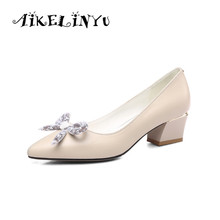 AIKELINYU 2019 Fashion Shallow Womens Pumps Low-heel Grace Bow Hot Sale Shoes Square Toe Slip-On New Summer Lady Beige