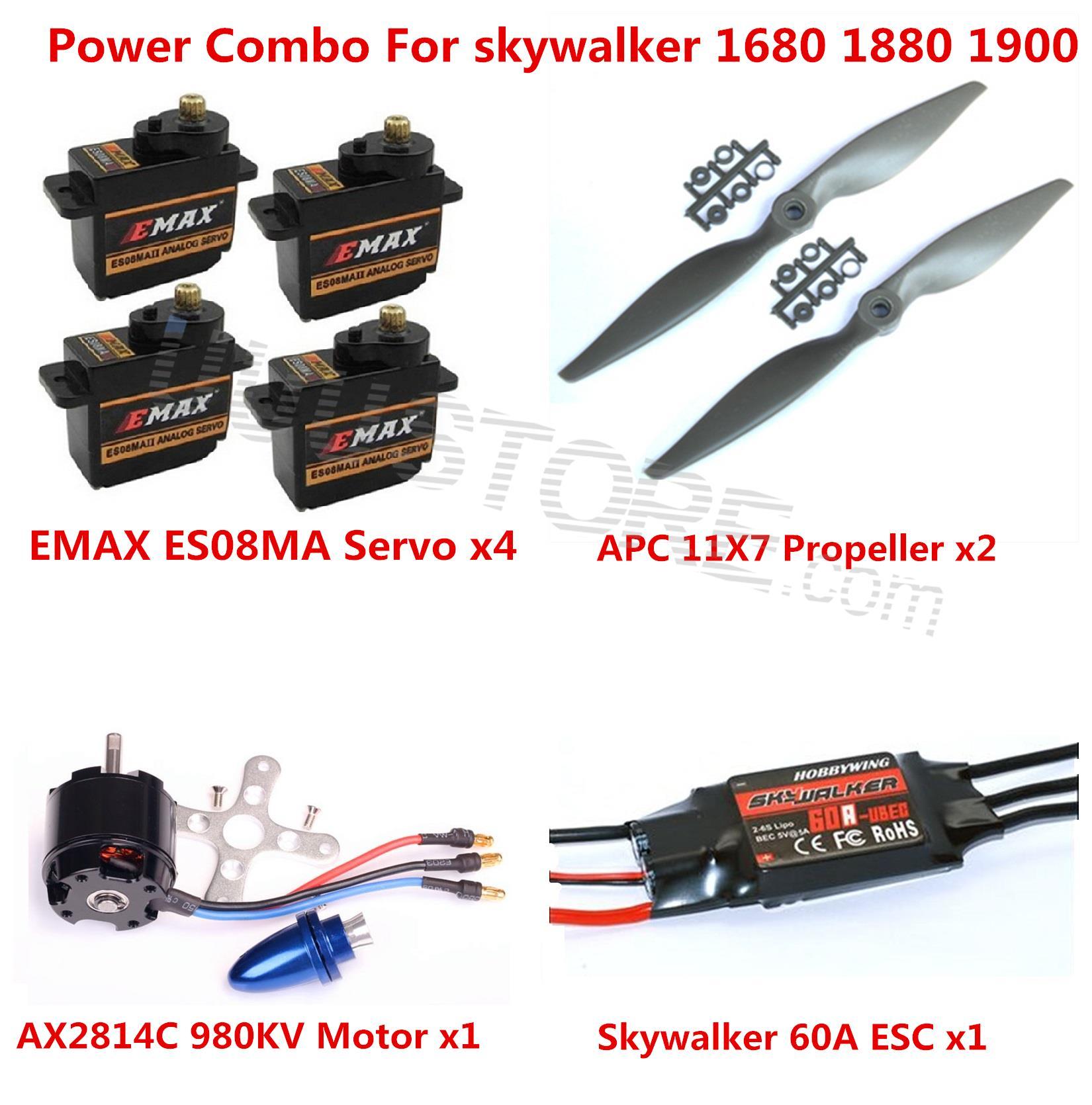 Power Combo Kit For Skywalker 1680 1880 1900 EPO RC Airplane Motor ESC Props and Servos