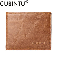 Hot Sale GUBINTU Genuine Leather Cowhide Men Dollar Wallets Vintage Business Casual 2 Folds Short Fund