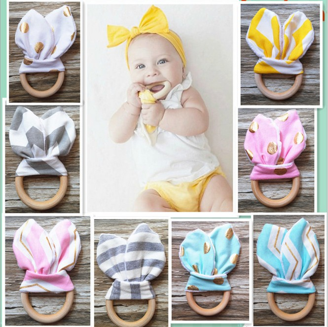 New Safety Wooden Natural Baby Teething Ring Chewie Cute Teether Training Bunny Sensory Baby Toy Rattle