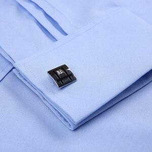 Image 2 - Мужская классическая рубашка под смокинг, формальная деловая рубашка с длинными рукавами и французскими манжетами на пуговицах, свадебная одежда