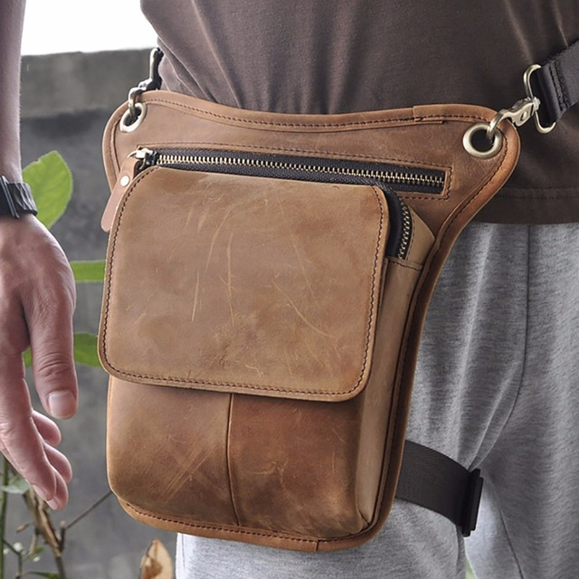 Men Genuine Leather Real Natural Ride Drop Leg Bag Fanny Waist Pack Belt First Layer Cowhide Motorcycle Messenger Shoulder Pack