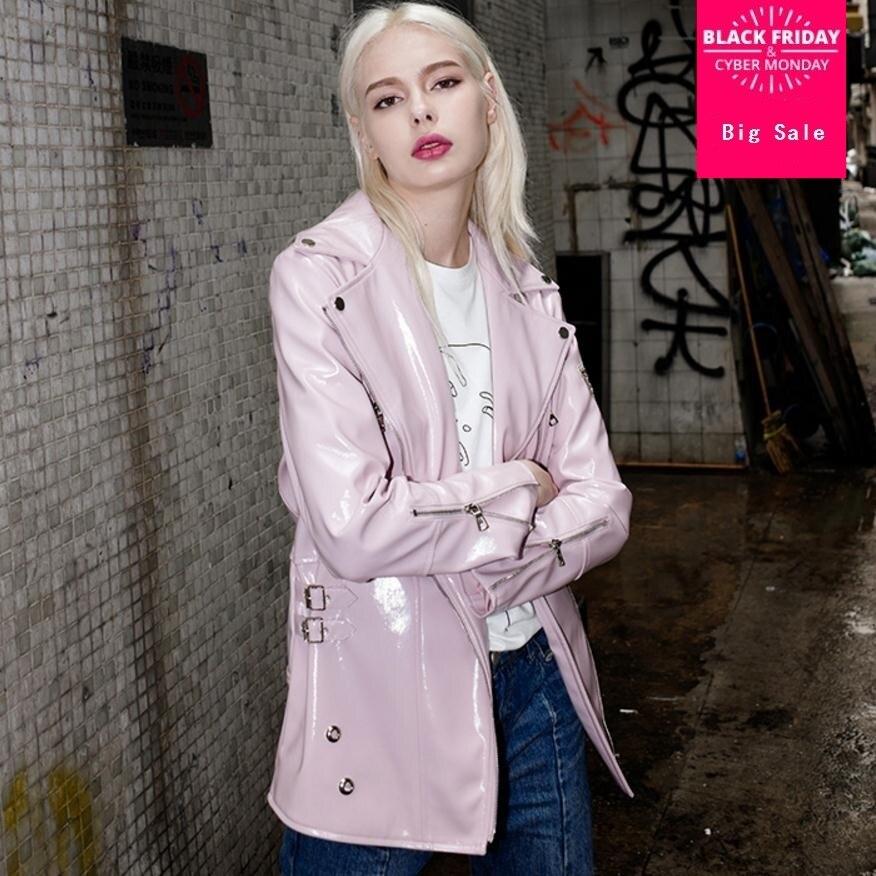 Autumn fashion brand glossy fabric pu   leather   jacket fashion brand street style zipper stitching   leather   jacket wj2874 dropship