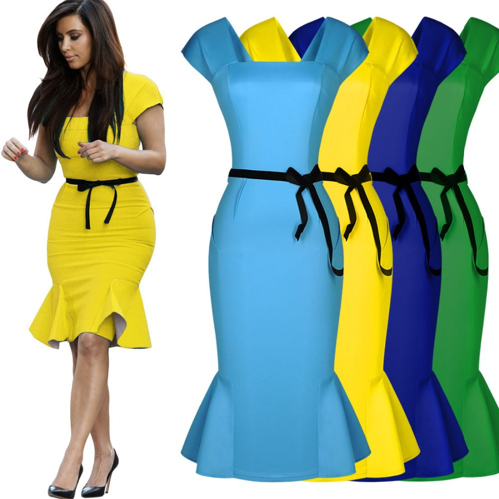 Women Royal Blue Yellow Peplum Summer Style Bodycon Pencil Belted ...