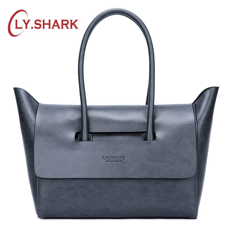 LY。サメ革女性バッグショルダーバッグ女性 Handabgs 2019 高級ハンドバッグの女性のブランドハンドバッグ  グループ上の スーツケース & バッグ からの ショッピングバッグ の中 1