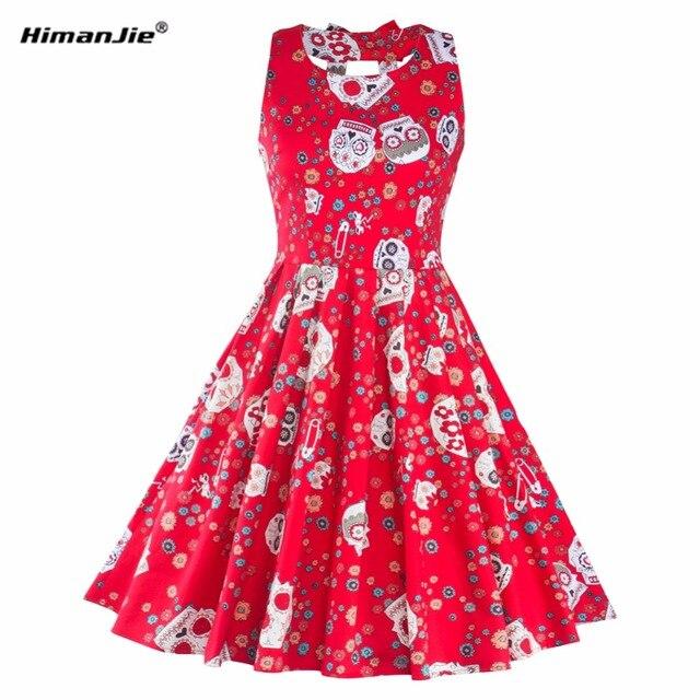 Himanjie Women Autumn Vintage Skull Print Dress 1950s Sleeveless Backless back bow Elegant Sexy Spaghetti Strap Halter Dresses
