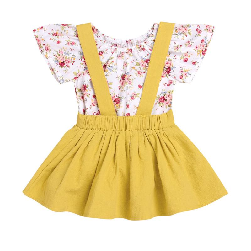 Cute Newborn Infant Carters Kid Baby Girl Clothes Cotton T-shirt Floral Romper Lovely Jumpsuit Outfit 2PCS Kids Clothing lace