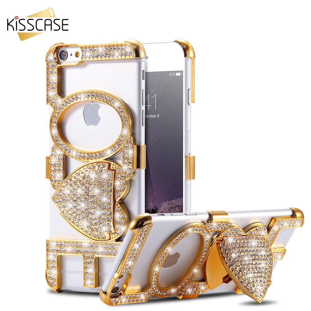 bilder für Kisscase bling diamant liebe case für iphone 5 5 s se 6 6 s 6 Plus 6 s Plus Hard PC Handy Rückseite Girly Nette Armor Cases