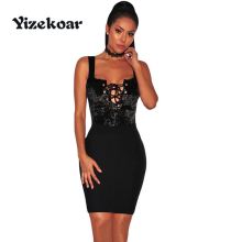 Yizekoar 2017 Women Solid Sexy V-Neck party autumn Pajamas Hollow Out Jumpsuits Black Crushed Velvet Lace Up Bodysuit DL32116