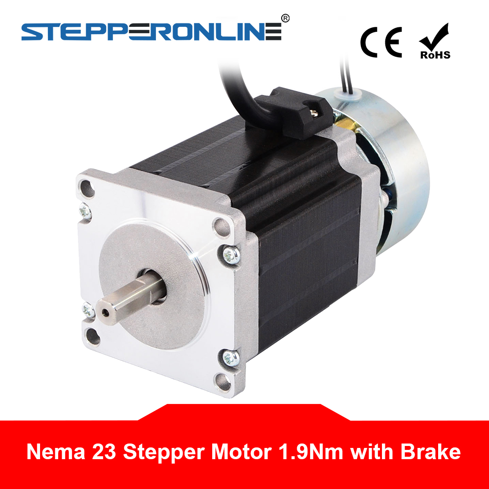 1PC Nema 23 Stepper Motor 1 9Nm 269oz in w Brake Friction Torque 2 0Nm 283oz