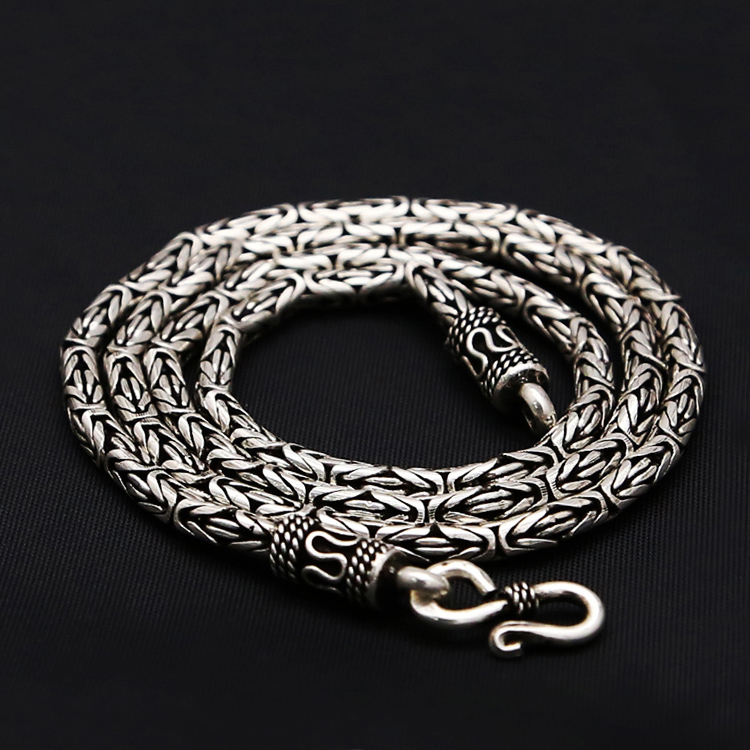 Byzantine Antique Silver 925 Mens Chain Necklace 100% Real Solid 925 Sterling Silver Jewelry Men 3mm Thick Chain Necklace Gift 3mm thick weave rope chain cross link silver necklace sterling 925 silver jewelry