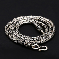 Byzantine Antique Silver 925 Mens Chain Necklace 100% Real Solid 925 Sterling Silver Jewelry Men 3mm Thick Chain Necklace Gift