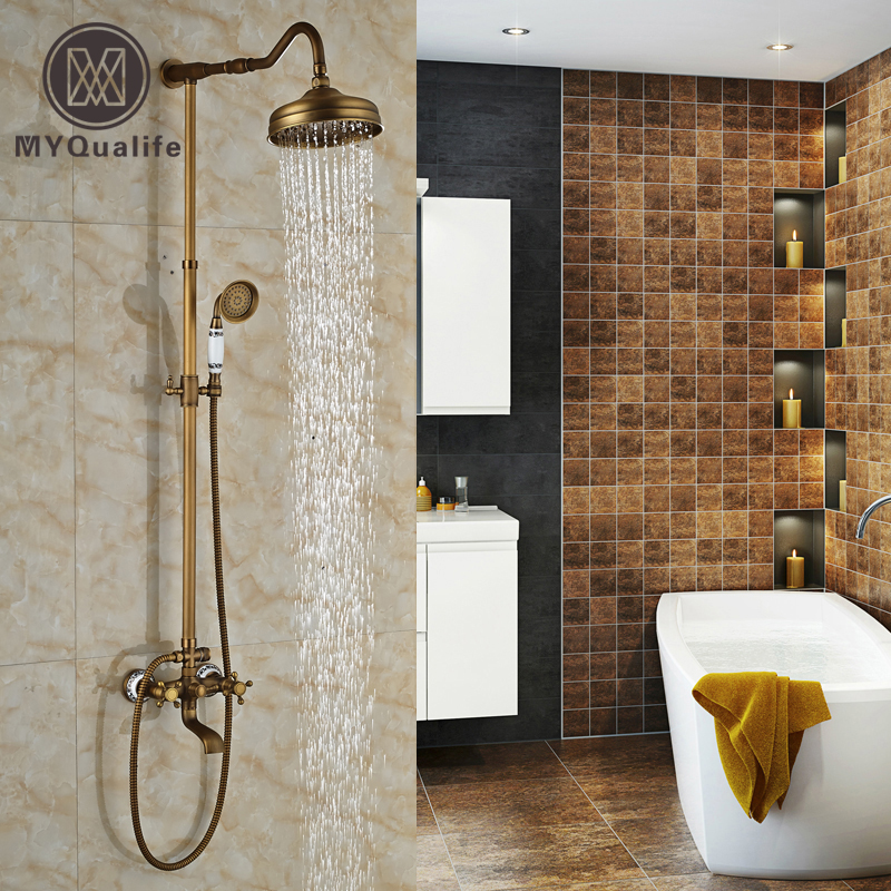 Newly Wall Mount 3-functions Bath and Shower Faucet Set Dual Handles Brass Antique 8 Rain Shower Column with Handshower