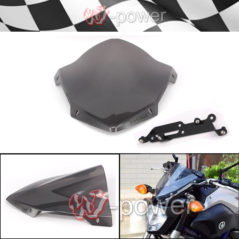цены Motorcycle Windshield Windshield Pare-brise Smoke fite For YAMAHA MT 07 MT-07 FZ-07 2014-205 2016