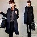 Новые casacos femininos женское пальто женщин Тонкий Двубортный Шерстяное Пальто Осень Зима шерстяное пальто тонкий зимнее пальто женщин
