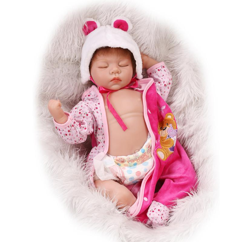 NPK New Reborn Baby Doll Soft Silicone Vinyl Real Touch 22 inch 55 cm <font><b>Princess</b></font> <font><b>Toddler</b></font> girl toys bonecas Play House Bedtime toy image