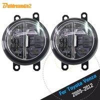 Buildreamen2 2 X Car Styling 4000LM LED Bulb Fog Light Daytime Running Lamp DRL 12V For Toyota Venza 2009 2010 2011 2012