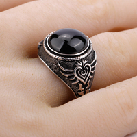 Punk True 925 Sterling Silver Men Ring with Black Big Stone Personality Poker Featured Men Women Lovers Jewelry