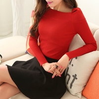 2016 NEW European Women S Sweater High Quality Solid Color Autumn Spring Fashion Outwear Pullovers Knitted
