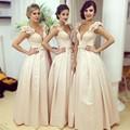 Gorgeous Beige Long Bridesmaid Dress Middle East Long Bridesmaid Gowns 3D Flower Strap Saudi Arabia Long Wedding Women Dress Bow