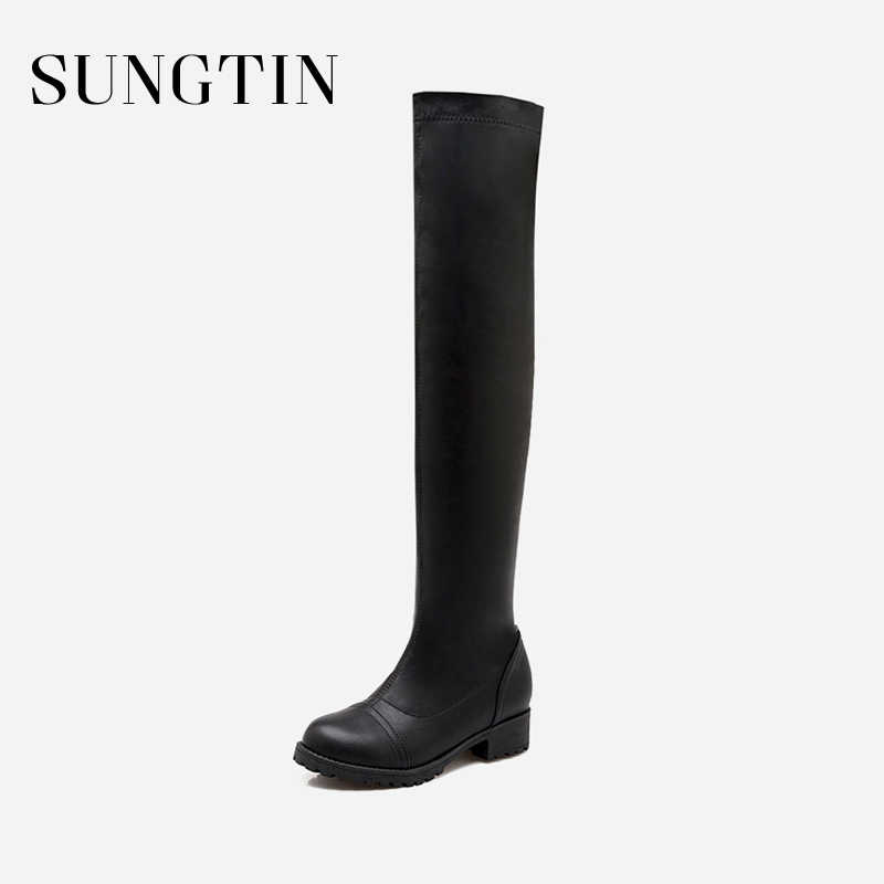 Sungtin Winter New Plush Keep Warm Slim Stretch Women Boots Large Size 43 Black White Over The Knee Boots Fashion Long Boots
