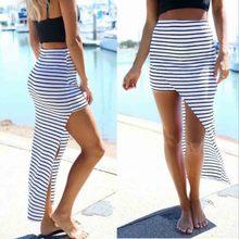 2016 Summer Sexy Long Skirt Women's Irregular Hem Striped Skirts High Waist Package Hip Bodycon Club Long Maxi Skirt