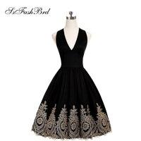 Women Cheap Evening Dresses Gold Appliques Halter Short Evening Dress 2018 Black A Line Sexy V