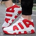 Tamaño grande Cesta de Aire Zapatos Para Hombres High Top Casual Caminando Amantes de Los Zapatos Respirables Del Deporte Entrenadores Zapatillas Superstar Negro Rojo