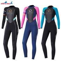 One piece 3mm Neoprene+Shark Skin Wetsuit Swimsuit Women Bodysuit Wet Suit Keep Warm Surfing Scuba Snorkeling Spearfishing Suit