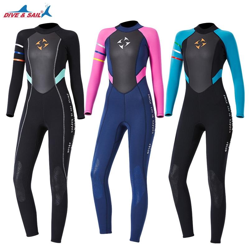 Une pièce 3mm néoprène + peau de requin combinaison maillot de bain femmes body combinaison humide garder au chaud surf plongée sous-marine plongée sous-marine costume de pêche