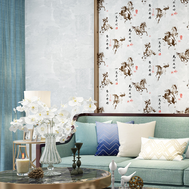 Chinese Style Prancing Horse Wallpaper Mural Non Woven Wall Paper Horse For  Living Room Solid Color